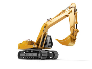 Hydraulic Excavator with bucket isolated on white. 3d illustration. Front side view. Wide angle