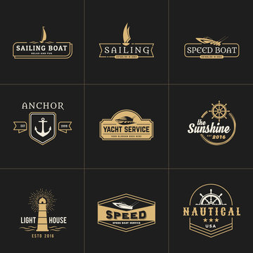 yatching and sailing vintage logo template
