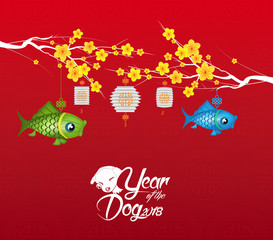 Chinese new year 2018 blossom background. Year of the dog