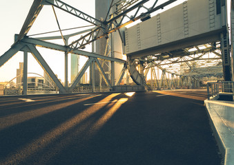 Fototapete - Jiefang bridge with tianjin city skyline scenery,China.