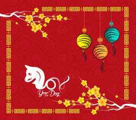 Chinese new year 2018. Year of  the dog background