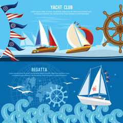 Yacht racing banner, sailing regatta. Water sports Nautical school. Sailing in the wind through the waves