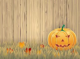 Halloween background with wooden boards and pumpkin.