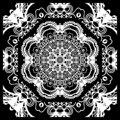 vector illustration. pattern with floral mandala, decorative border. design for print fabric, bandana