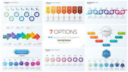 Collection of eight vector templates for infographics with 7 options, steps, processes