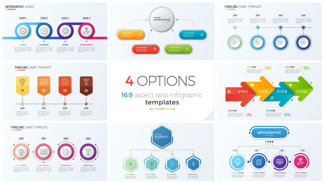 Collection of eight vector templates for infographics with 4 options, steps, processes