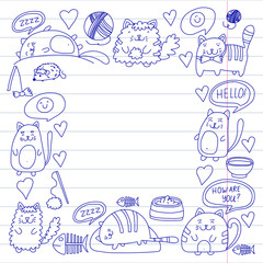 Cats vector Domestic cute kawaii kittens Japanese kawaii style Cartoon cats playing Illustratrion for pet shop, veterinary, cattery, wallpaper, kindergarten Kids drawing Children drawing style