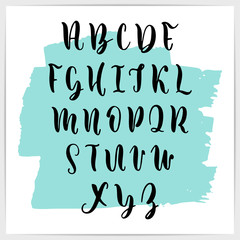 Vector font, upper case. Modern calligraphy. A to Z.