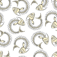 Pretty colorful seamless halloween pattern made of hand drawn fish skeletons.