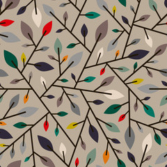 Seamless geometric pattern of autumn leaves and branches