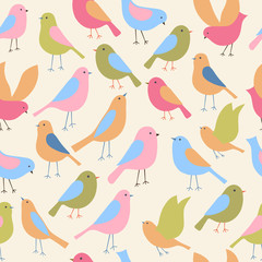 Seamless pattern with birds. Vector illustration.