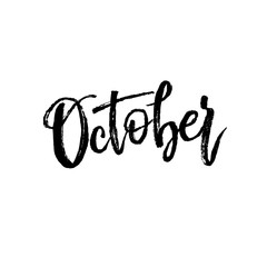 October. Autumn brush lettering.