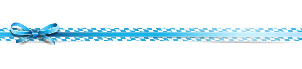 Oktoberfest Bayern Banderole mit Schleife und Rautenmuster blau weiß