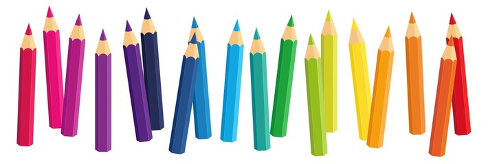 Vector Crayons_colored pencil collection loosely arranged_SET2