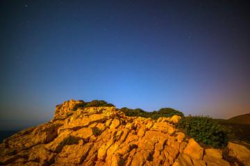 Rocks under a starry sky