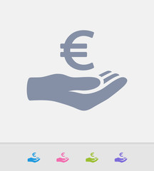 Hand Holding Euro - Granite Icons. A professional, pixel-perfect icon designed on a 32x32 pixel grid and redesigned on a 16x16 pixel grid for very small sizes