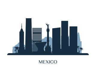 Mexico skyline, monochrome silhouette. Vector illustration. Papier Peint