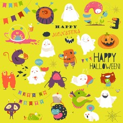 Funny cartoon ghosts and monsters halloween