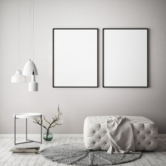 mock up poster frame in pastel interior background, Scandinavian style, 3D illustration