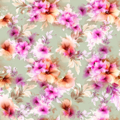 Seamless pattern with pink and gray abstract flowers and decorative elements on on the light green-gray background