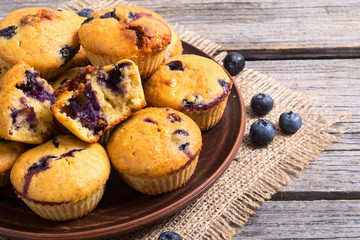 Banana muffins with blueberry