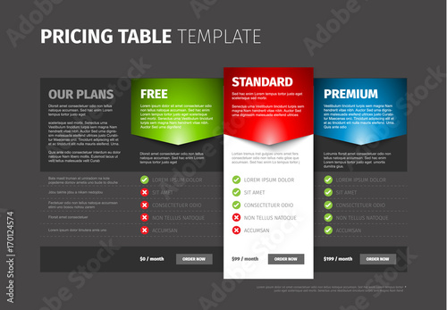 Product / service pricing comparison table\
