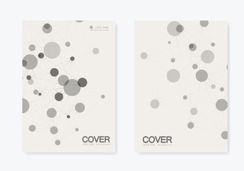Abstract polygonal network shapes with connecting dots and lines. Cover technology template