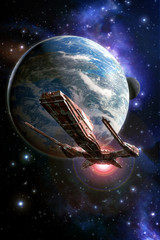 Wall Mural - spaceship planet and moon