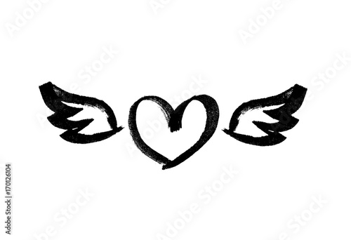 Heart With Wings Love Symbol Ink Hand Drawn Lettering Grunge
