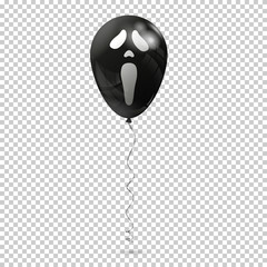 Black air balloon with emotion scream isolated on transparent background.
