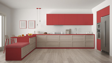 Classic modern kitchen with wooden details and parquet floor, minimalist white and red interior design