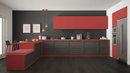 Classic modern kitchen with wooden details and parquet floor, minimalist gray and red interior design