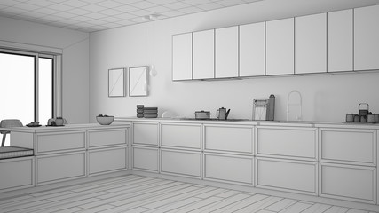 Unfinished project of classic kitchen with wooden details and parquet floor, minimalist white interior design