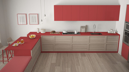 Modern kitchen with wooden details and parquet floor, minimalist white and red interior design, top view