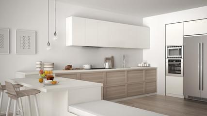 Classic kitchen with wooden details and parquet floor, healthy breakfast, minimalist white interior design