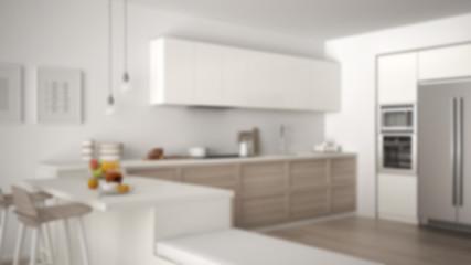 Blur background interior design, classic kitchen with healthy breakfast