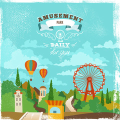 Amusement Park Multicolored Illustration on Grunge Textured Background