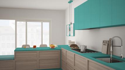 Modern kitchen with wooden details and parquet floor, healthy breakfast, minimalist white and turquoise interior design