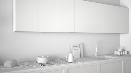 Total white project of modern kitchen with wooden details close up, minimalist classic interior design