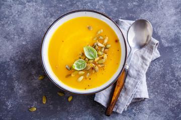 Pumpkin soup with basil