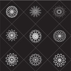 Ornamnental symbols. Vector geometric set.