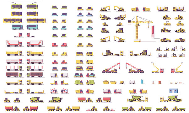 Vector isometric low poly transport set
