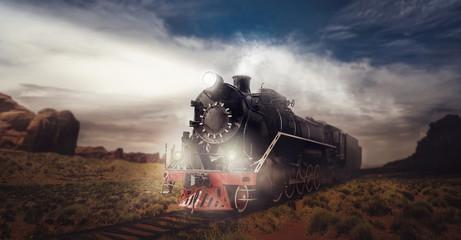 Old steam train, travel in valley
