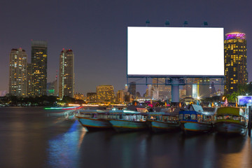 billboard near the river in the night