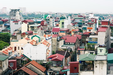 Panoramic aerial view at Hanoi old city houses and buildings in Vietnamese style