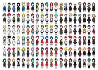 Characters vector set cartoon design mobile game dress up Illustration on White Background eps10