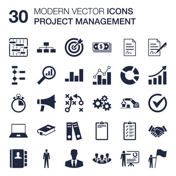 Set of 30 quality icons about project management business administration