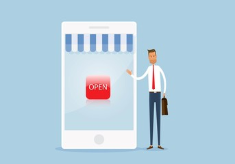flat vector open online store shopping and  business mobile commerce concept