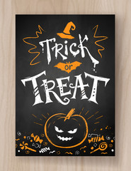 Trick or Treat postcard chalked design