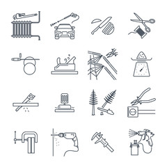 set of thin line icons electrical hand tools, technology